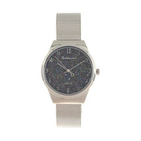Crystal Round Watch Silver Brass
