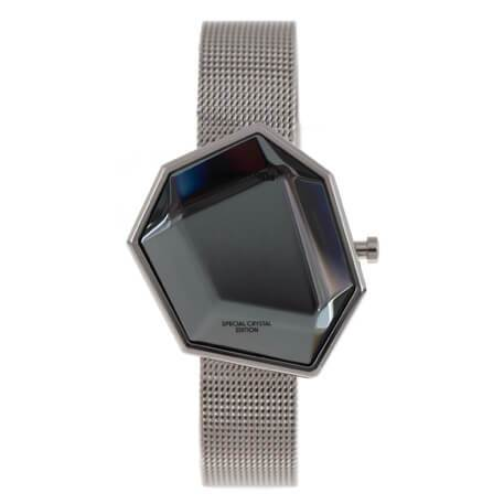 Crystal Square Watch Silver Brass
