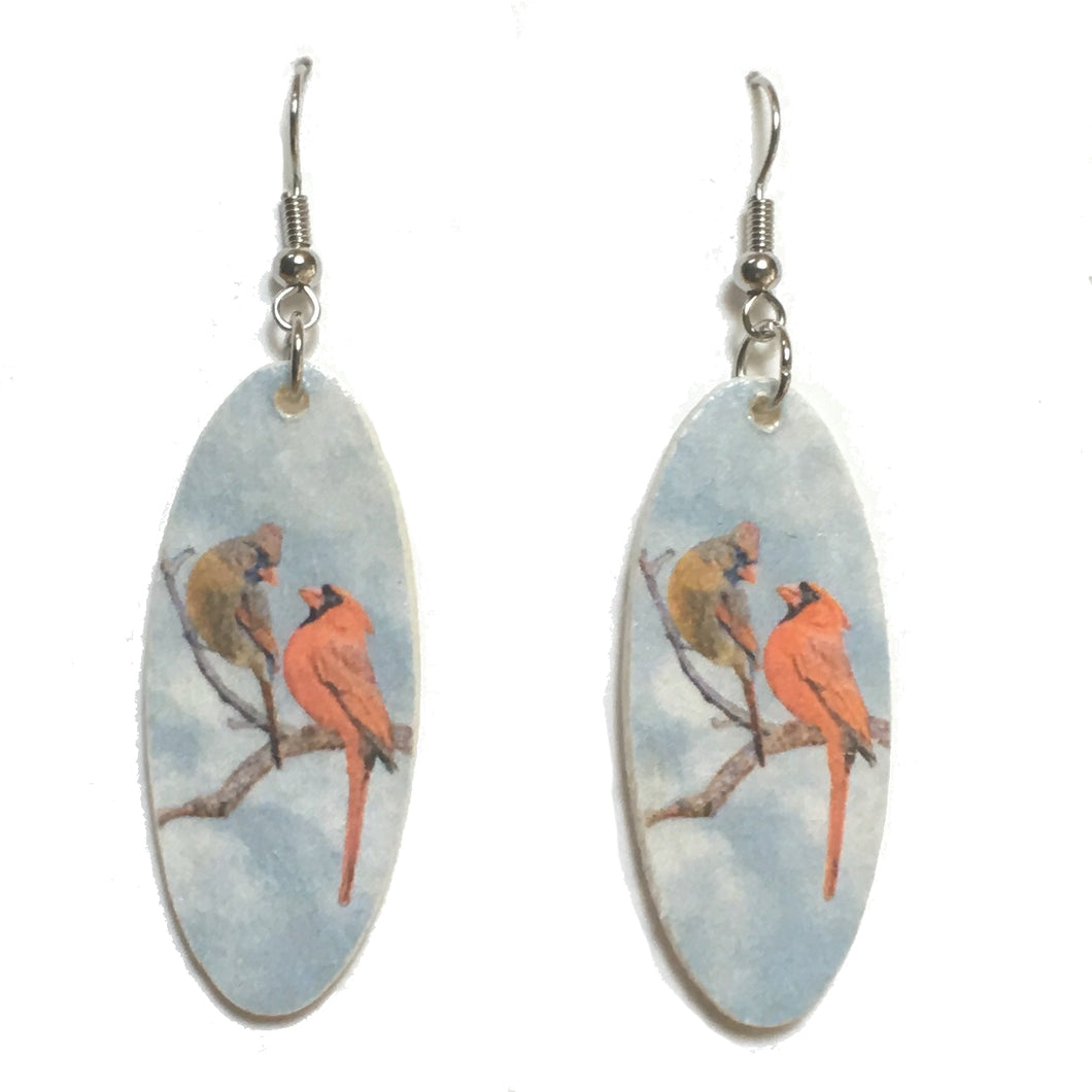 Cardinals on a Branch Earring, Bird Image on Oval Earrings #E731