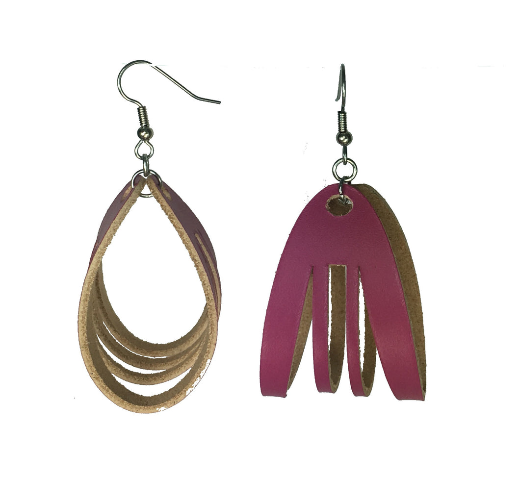 Hot Pink Leather Hoop, Sliced Earrings #E542