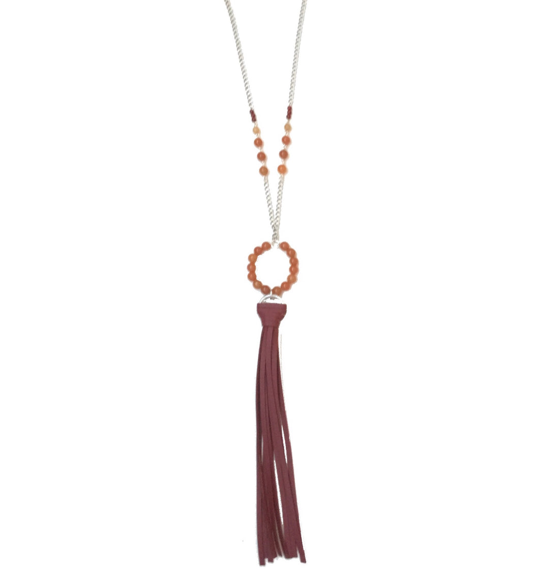 Maroon Tassel Necklace N142