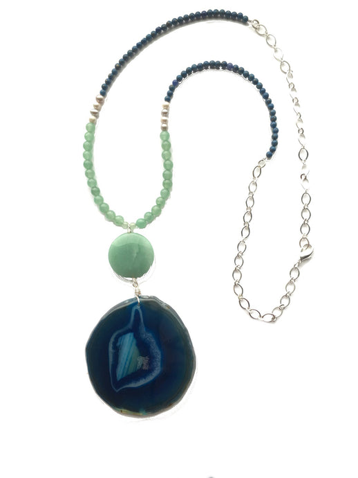 Blue Agate, Green Aventurine Necklace N141