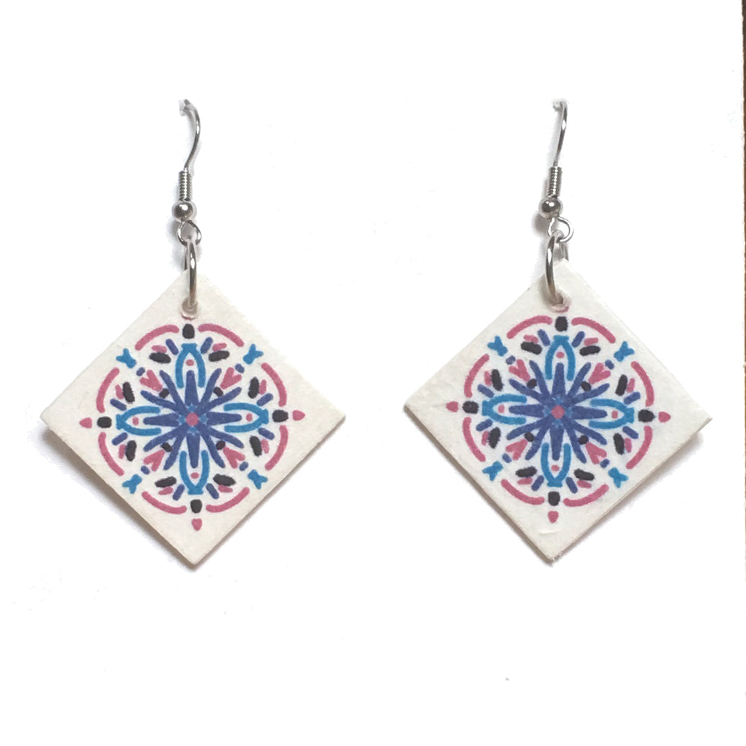 Pink, Purple, Aqua and Black, Wood Tile Earring #E750