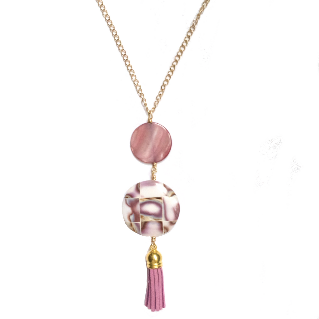 Pink Tassel, Cowry Shell, Purple Shell Necklace N137
