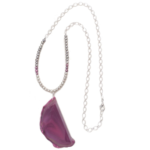 Long, Pink, Agate Necklace with Pearls N140