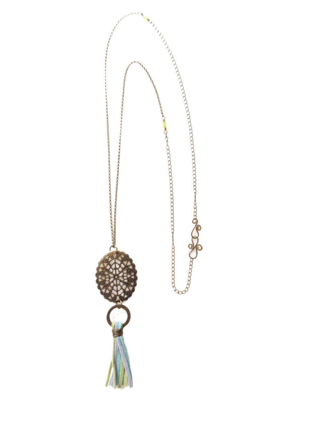 Oval Filigree Pendant with Suede Tassel Necklace N136
