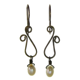 Vintage Inspired - Sculpted Brass Earrings with Pearl #E311