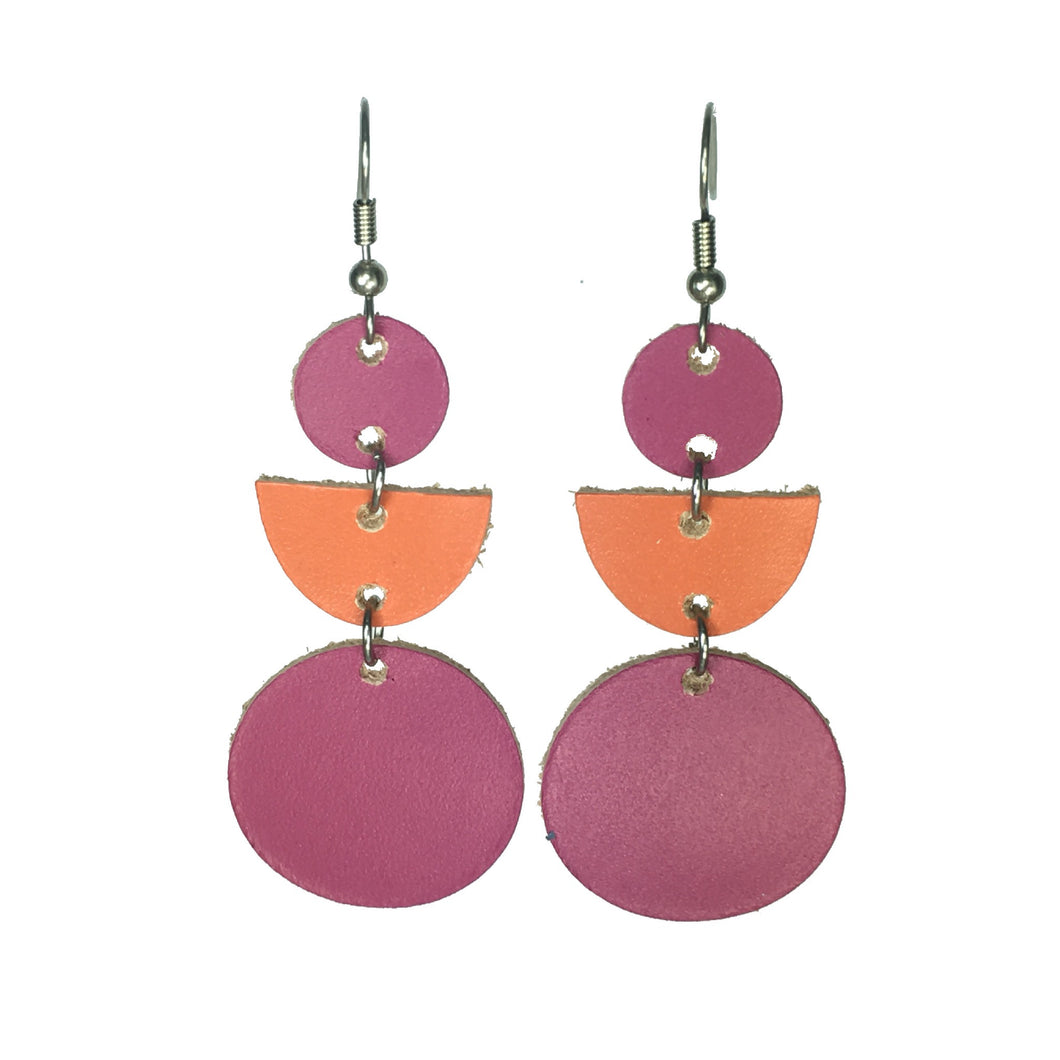 Hot Pink and Orange, Leather, Geometric Earrings #E539