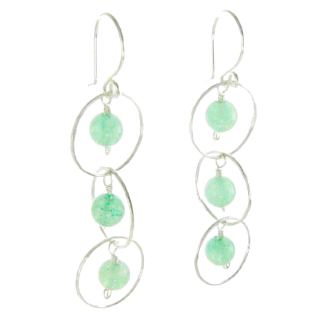 Sterling Silver Three Circle, Green Aventurine Earrings #E370