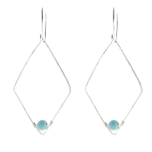 Sterling Silver - Diamond Shape with Turquoise #E438