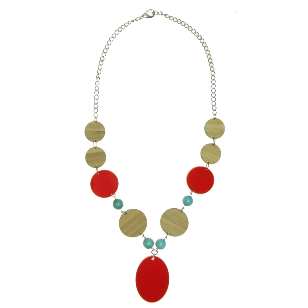 Wood, Red Acrylic and Turquoise Necklace #N129