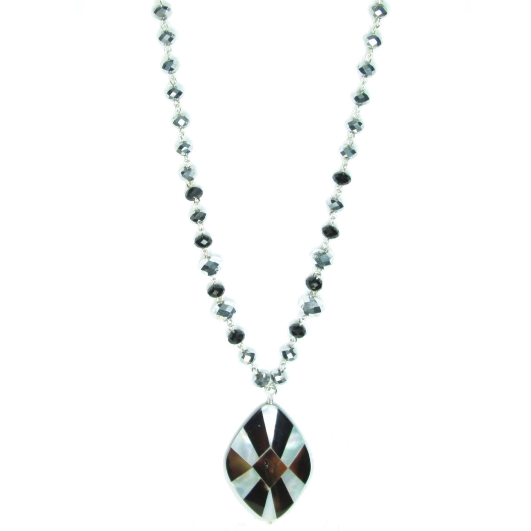 Mother of Pearl Mosaic Pendant with Black and Silver-Tone Beads #N134 - Limited Quantities