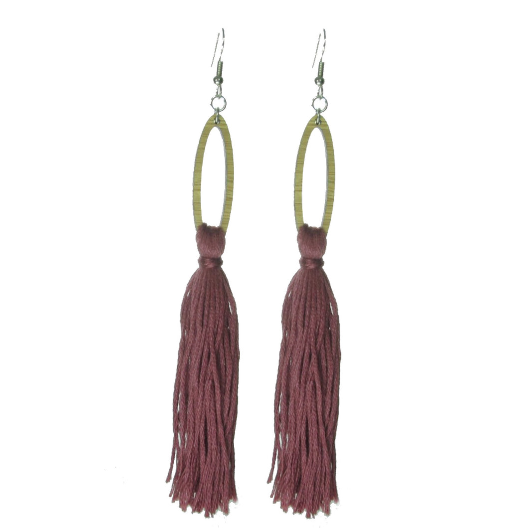 Burgundy Tassel Earrings on Wood Oval #E504