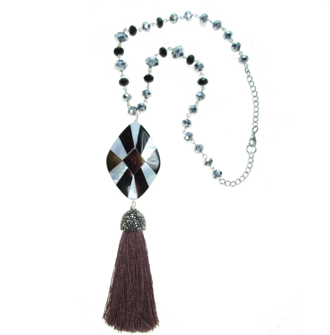 Tassel and Mother of Pearl Mosaic Necklace N138 - Limited Quantities