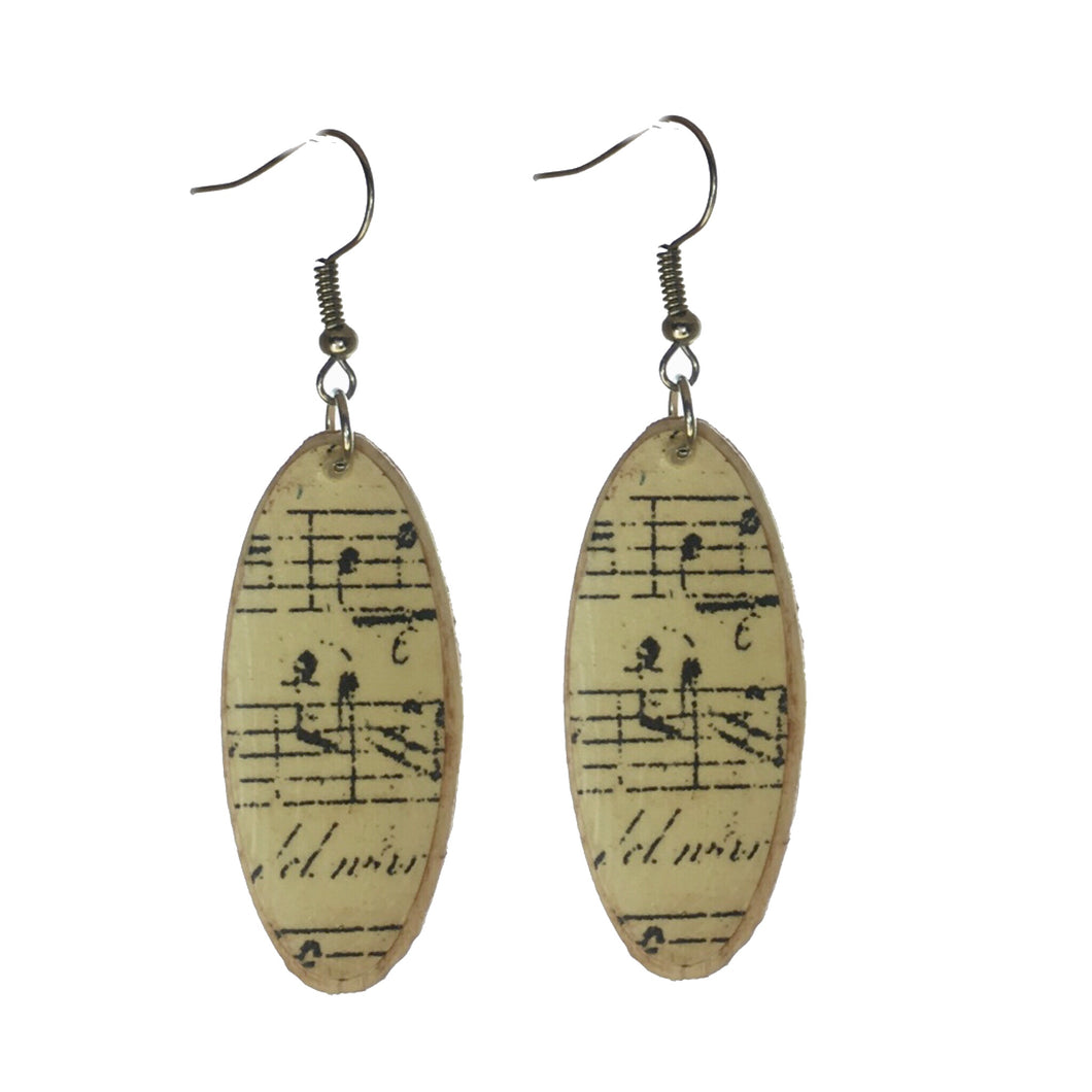 Rustic, Oval, Wood, Decoupage, Music Notes Earrings #E587