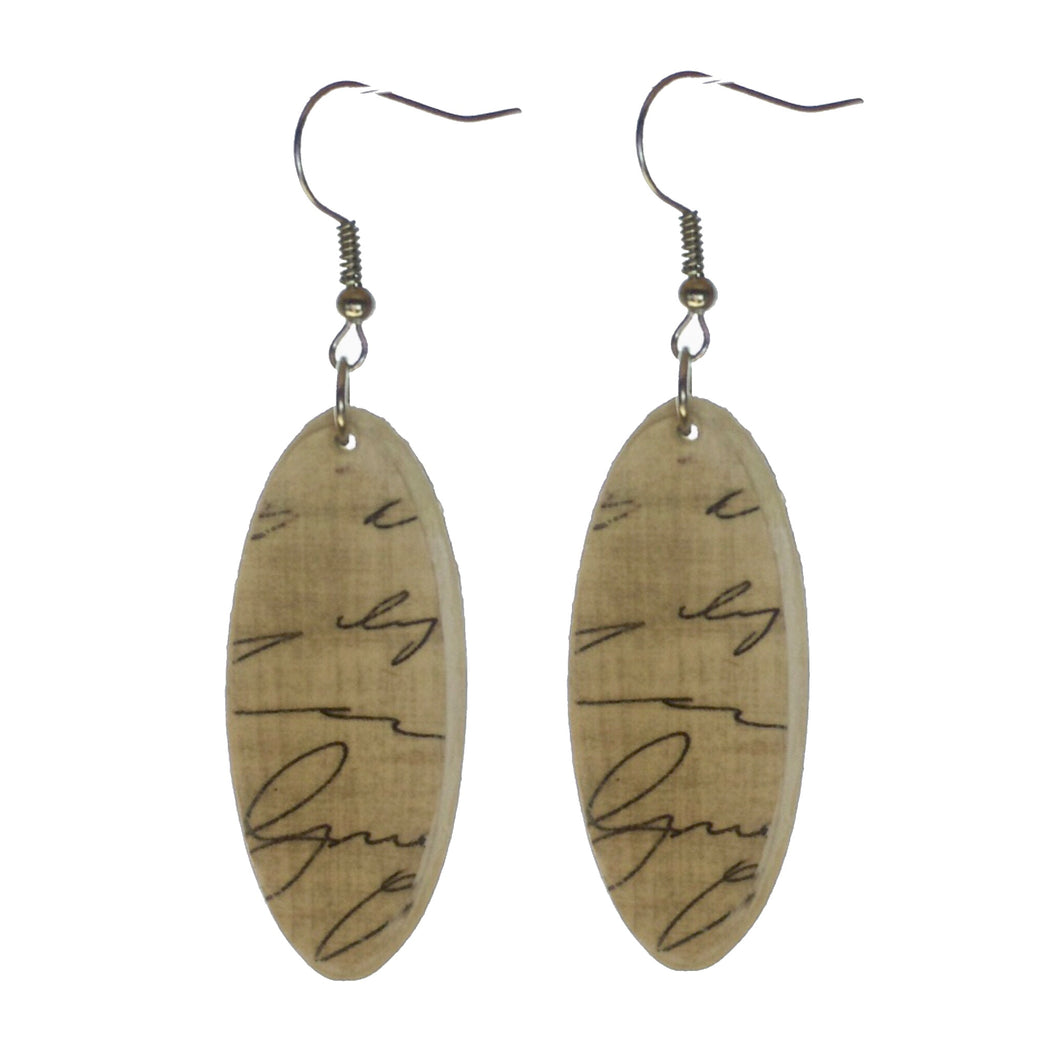 Rustic, Oval, Wood, Decoupage, Handwriting Earrings #E586