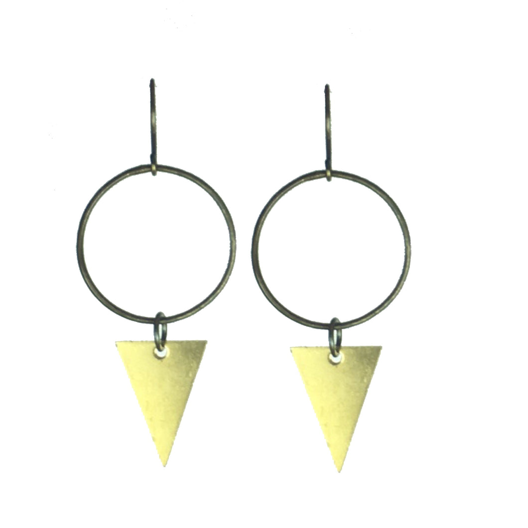 Brass Ring and Triangle Earrings  #E609