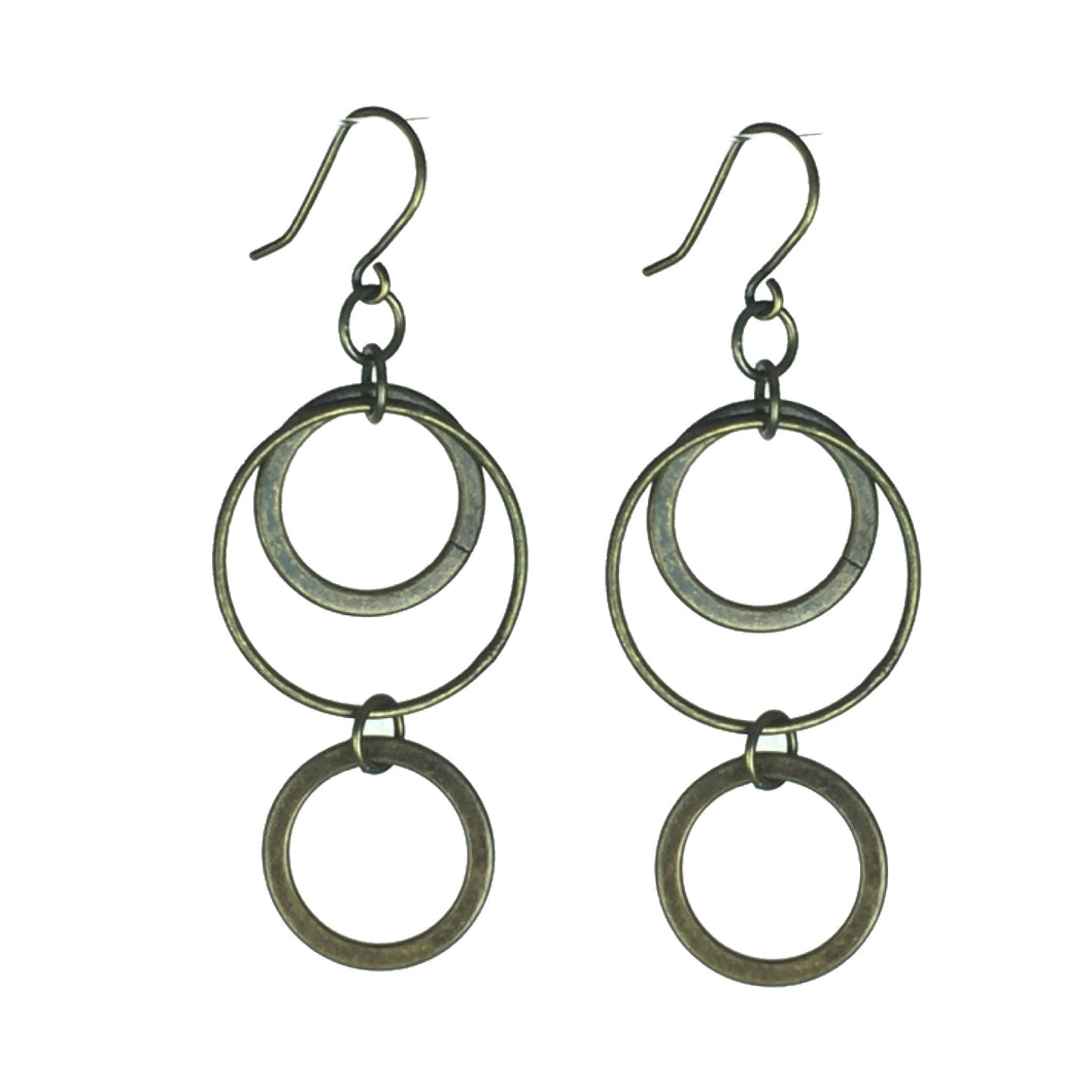 Three Brass Rings Earrings  #E611