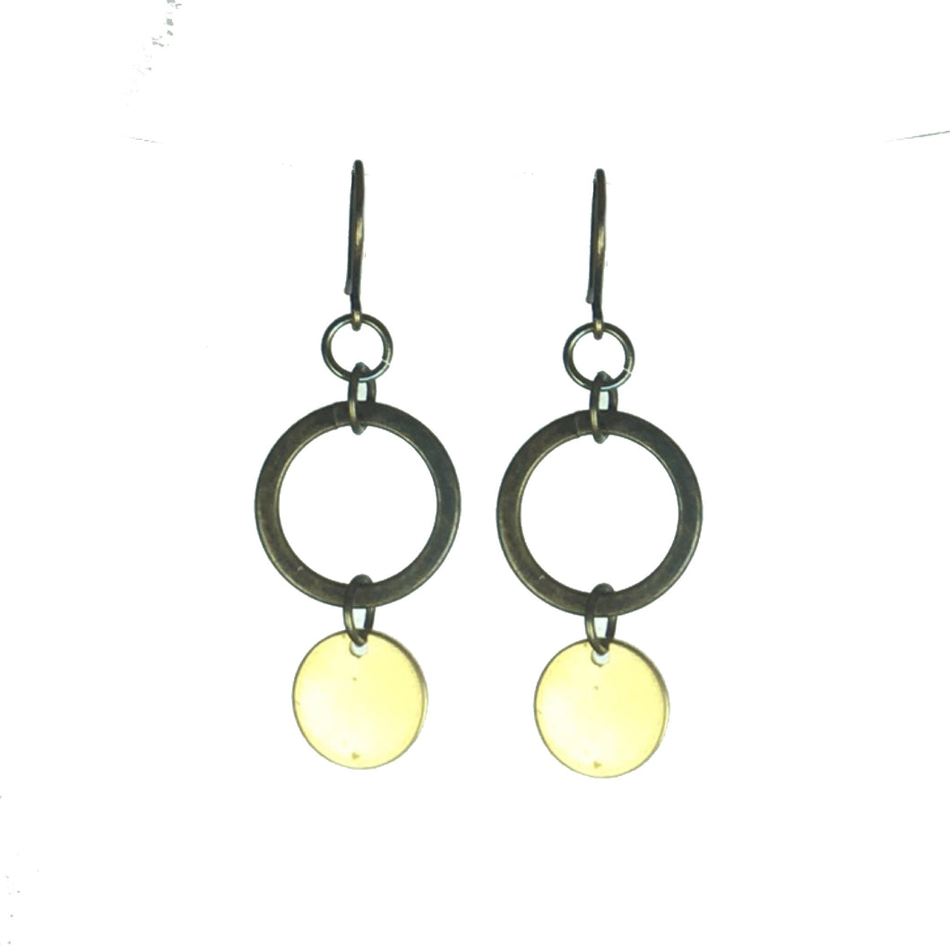 Small Brass Ring and Circle Earrings  #E610