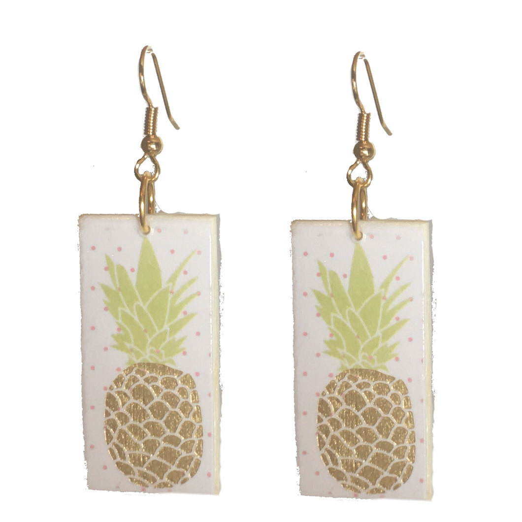 Gold Pineapple on Wood Earrings #E622
