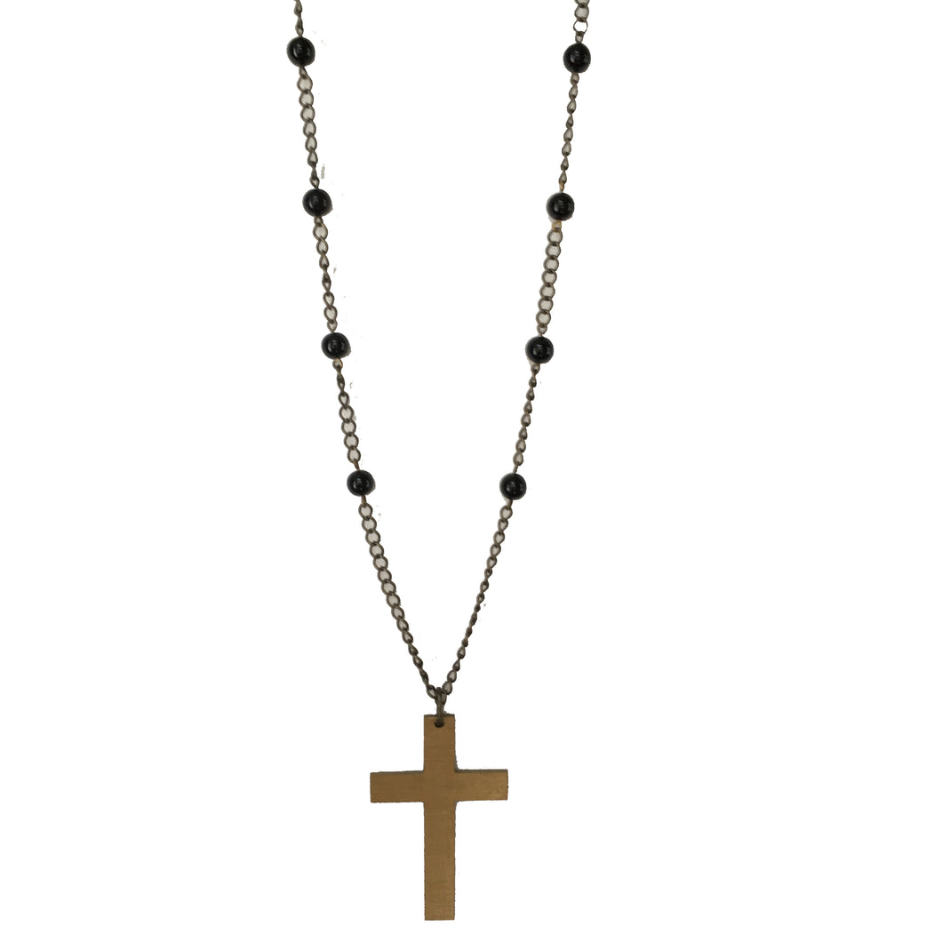 Boho, Cross Necklace with Black Beads #N157