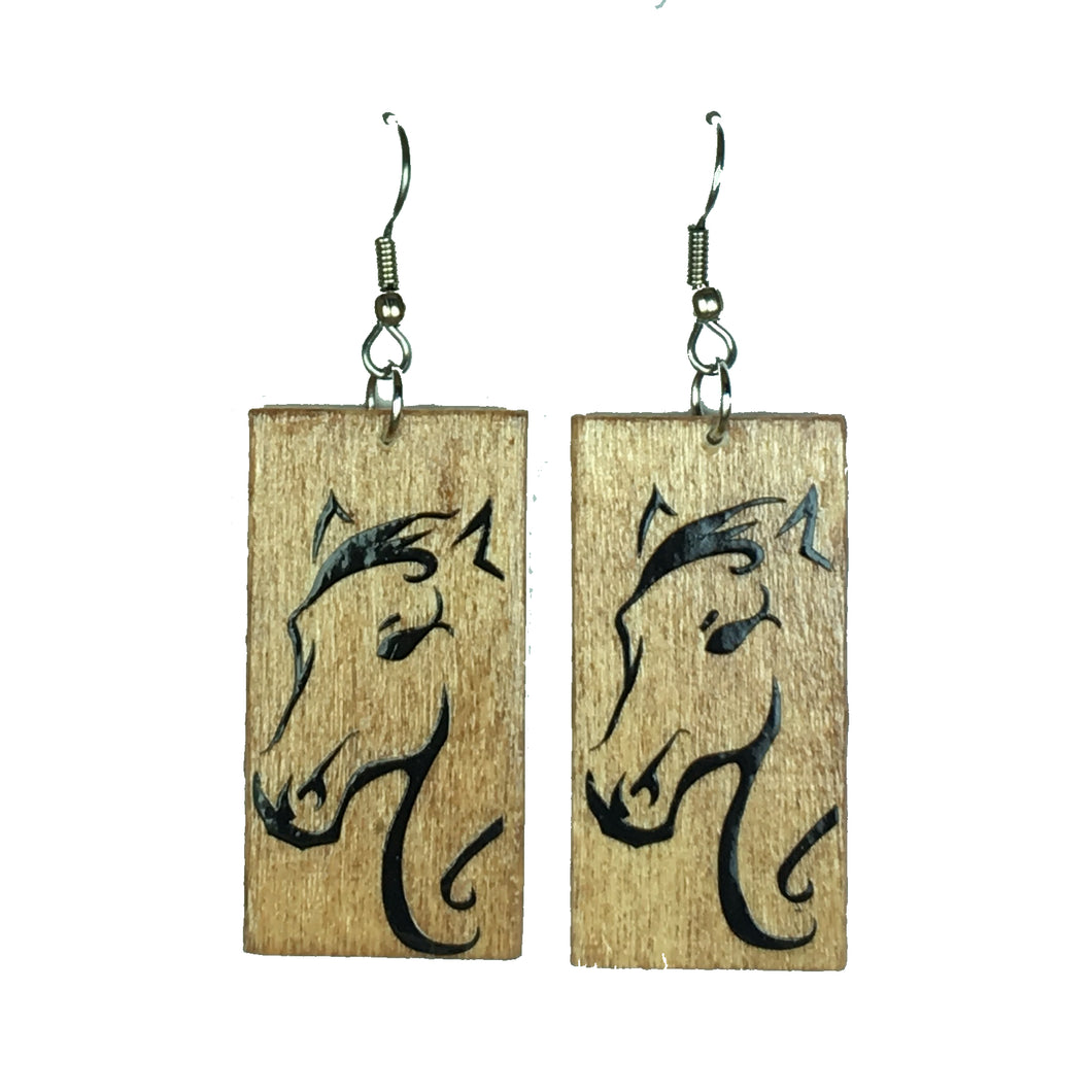 Horse on Wood Earrings #E619