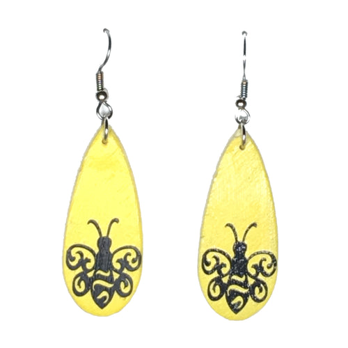 Bumble Bee Earrings - Rustic Yellow Wood Teardrop with Vinyl Bee #E627