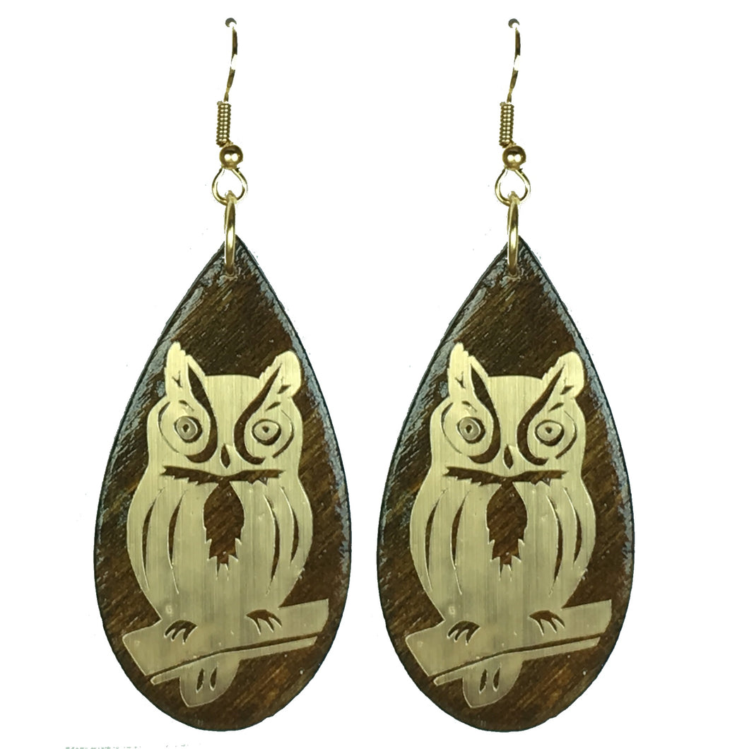 Metallic Owl on Wood #E629