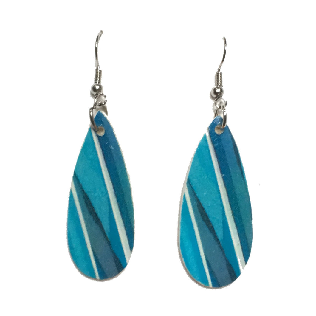 Blue and Aqua Graphic on Wood Earrings #E705