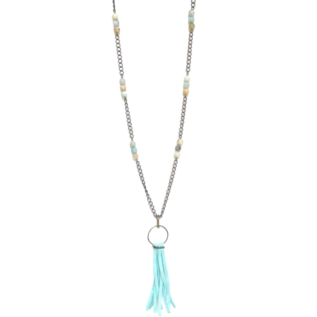 Amazonite Beads and Light Turquoise Tassel Boho Necklace #N152