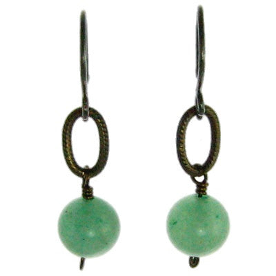 Vintage Inspired - Brass, Small Oval and Aventurine Bead #E304