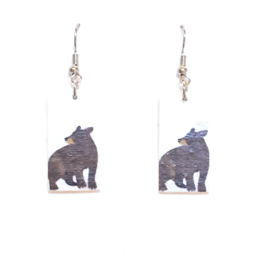 Small, Bear Earrings - Image on Wood - Decoupage Earrings E660