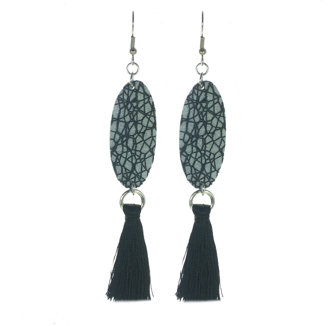 Black Net Over Wood Painted Silver and Black Tassel Earrings #E512
