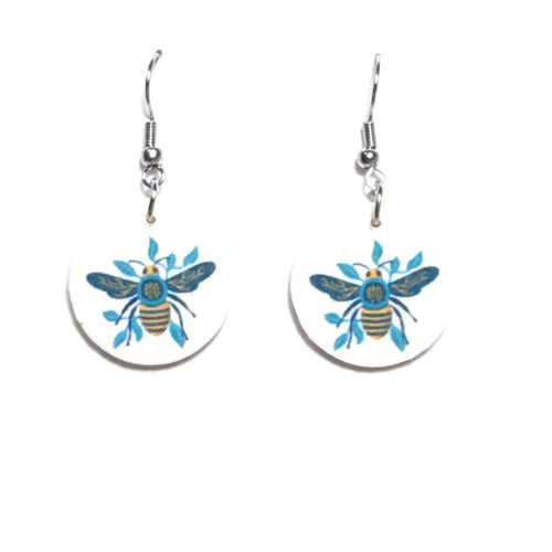 Yellow and Blue Bee Earrings - E669