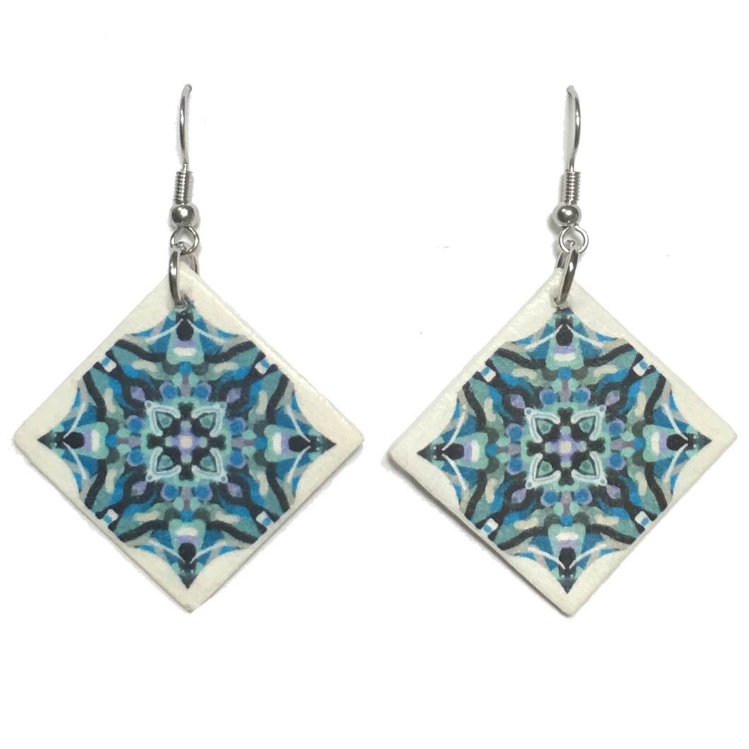Blue and Black, Wood Tile Earring #E751