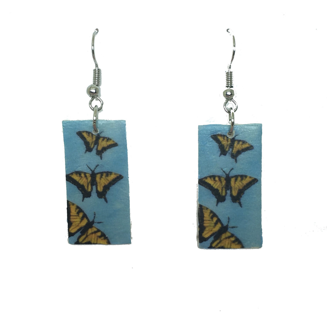 Yellow and Black Butterfly, Blue Background Earring on Wood - E650