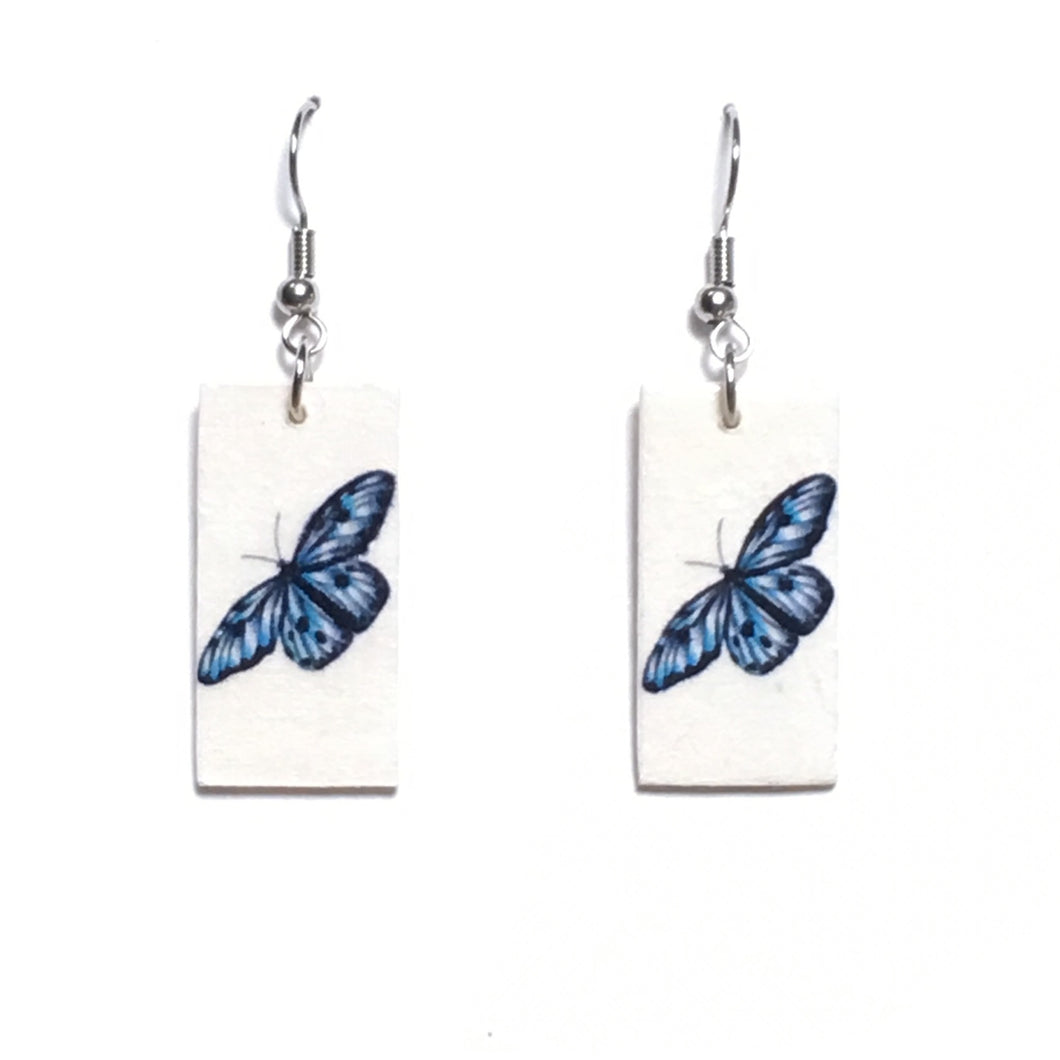 Small Blue Butterfly Earrings - Image on Wood - Decoupage Earrings E671
