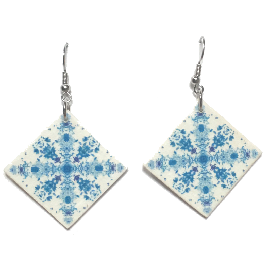 Blue Cross, Wood Tile Earring #E755