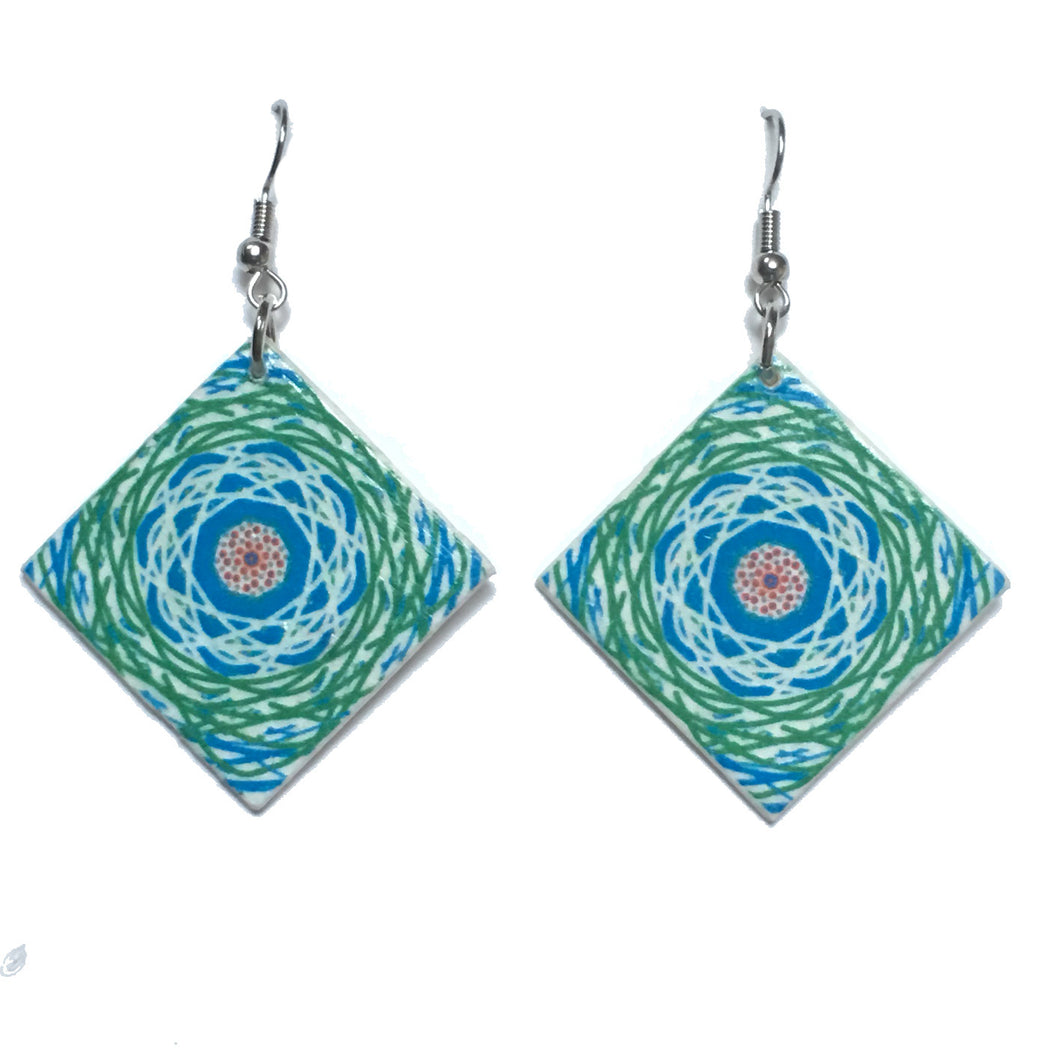 Green and Blue, Wood Tile Earring #E754