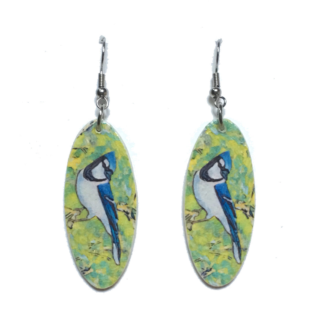 Blue Jay Earring, Bird Image on Oval Earrings #E732