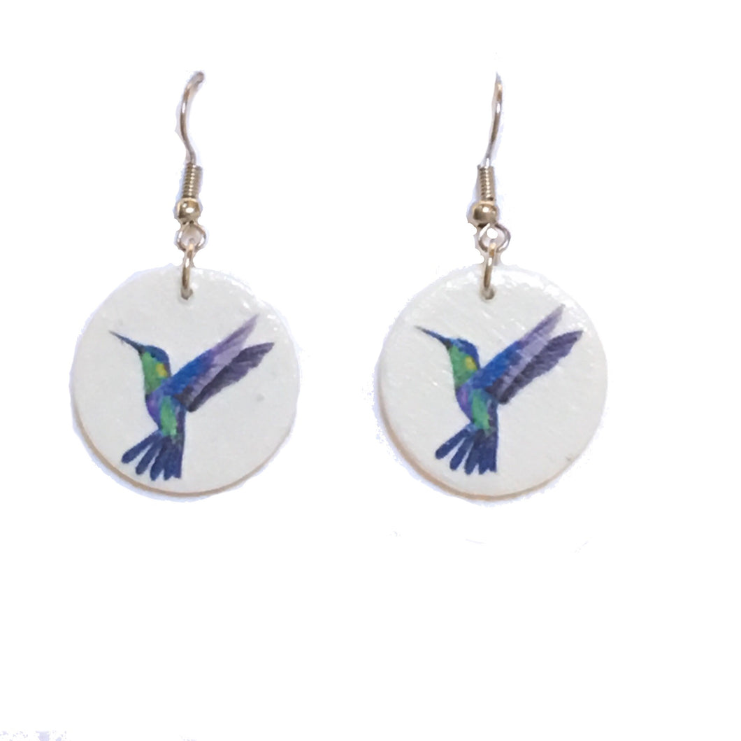 Blue and Green Hummingbird, Image on Wood Earrings #E661
