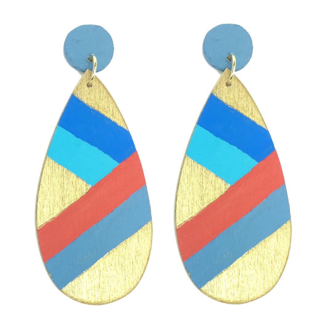Blue and Red, Hand-painted, Wood Earrings #E514