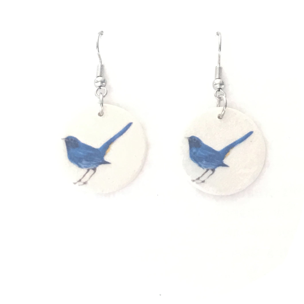 Blue Restart, Bird Image on Wood Disk Earrings #E662