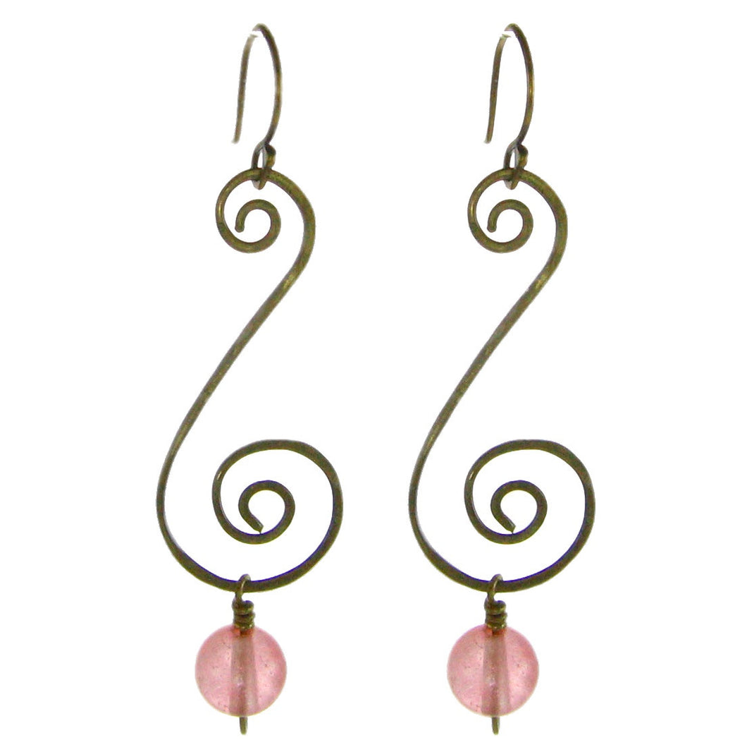 Vintage Inspired - Sculpted Brass with Cherry Quartz Bead #E408