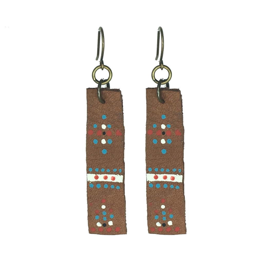 Leather Earring - Brown, Painted Leather - #E527