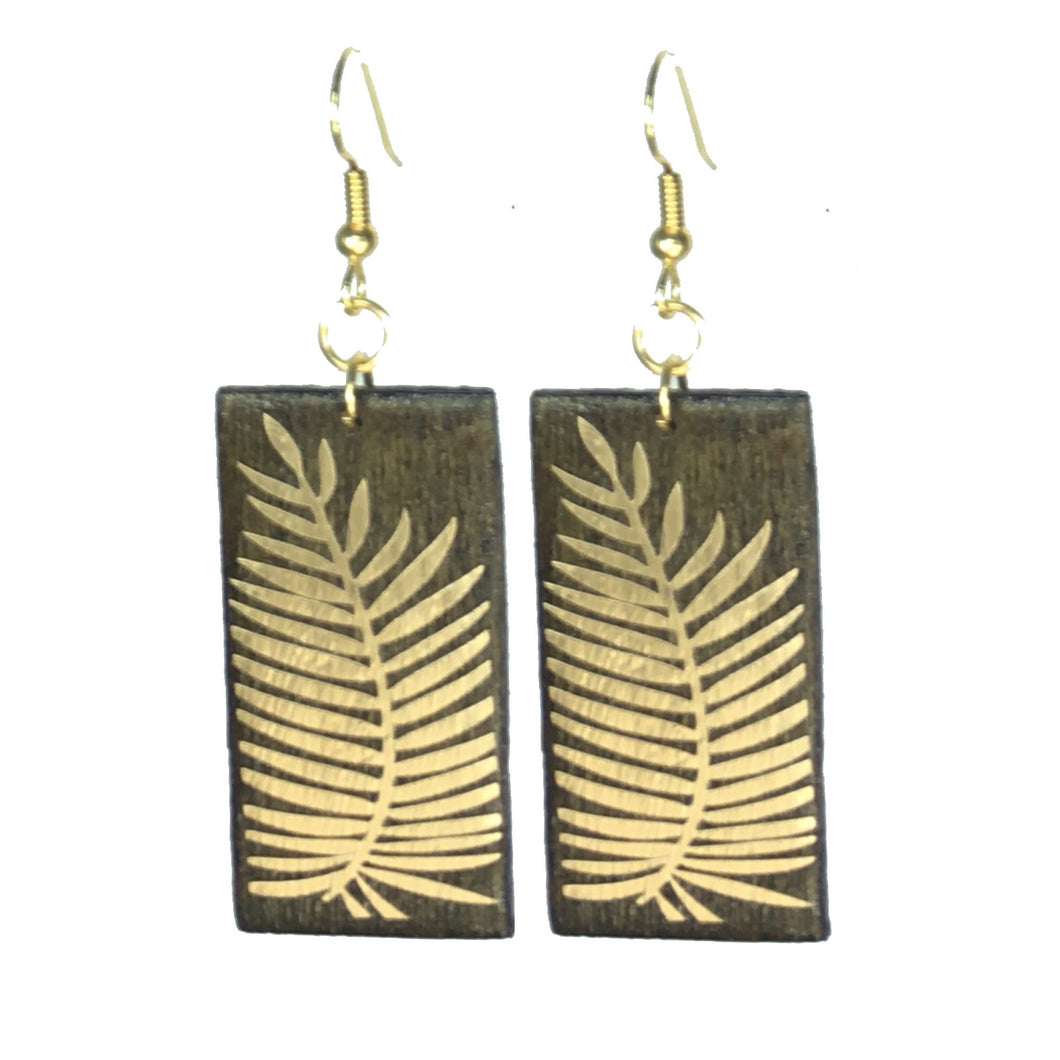 Geometric Wood Jewelry - Brown with Gold Palm Earring #E552