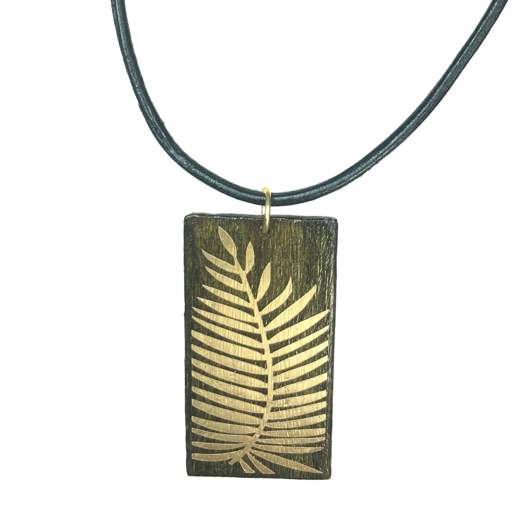 Geometric Wood Jewelry - Brown with Gold Palm Necklace - #N155