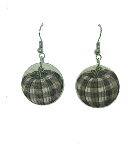 Brown, Plaid Gourd - Paper on Wood - Rustic Jewelry E649