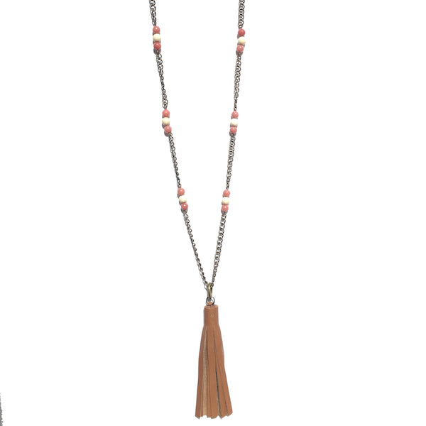 Pink and Tan Beads, Brown Leather Tassel - Boho Necklace #N151