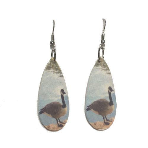 Canada Goose, Bird Image on Wood Disk Earrings, Nature Jewelry #E713